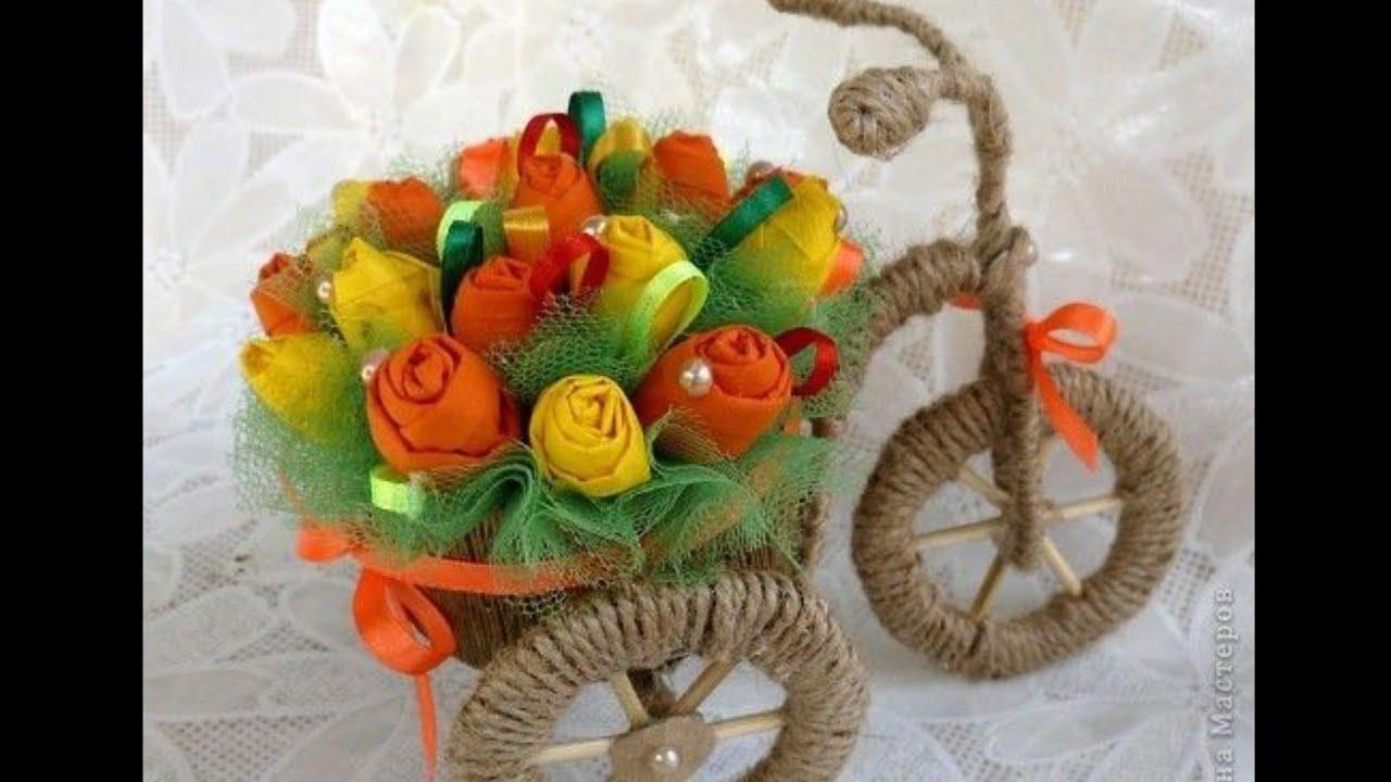 Jute flowers tricycle. ديكور دراجة الأزهار بخيط الخيش وخامات مسترجعة