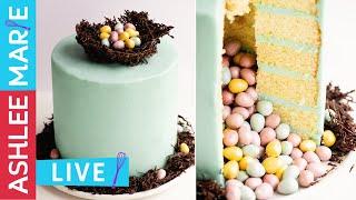 Easter Egg filled Pinata Cake - Vanilla cake with Easy Swiss Meringue Buttercream - LIVE