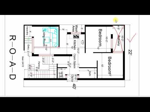 22 feet x 40 feet BEST HOUSE PLAN with dimensions