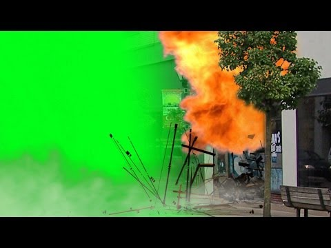 Big Explosion with charges and sound - green screen footage