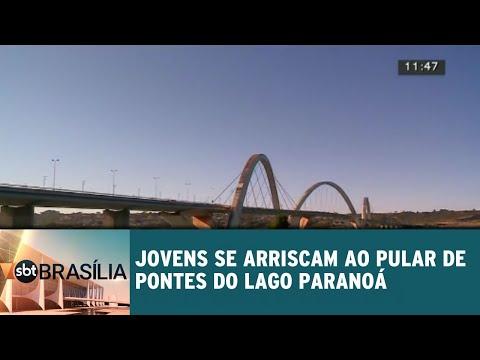 Jovens se arriscam ao pular de pontes do Lago Paranoá | SBT Brasília 25/07/2018