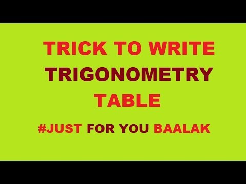 TRICK TO WRITE TRIGONOMETRY TABLE, CLASS 10TH , 11 TH MATH