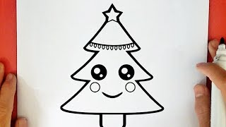 how to draw a christmas tree with presents under it step by step