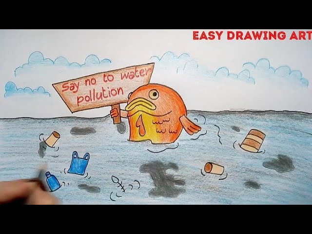 how to draw save earth poster stop