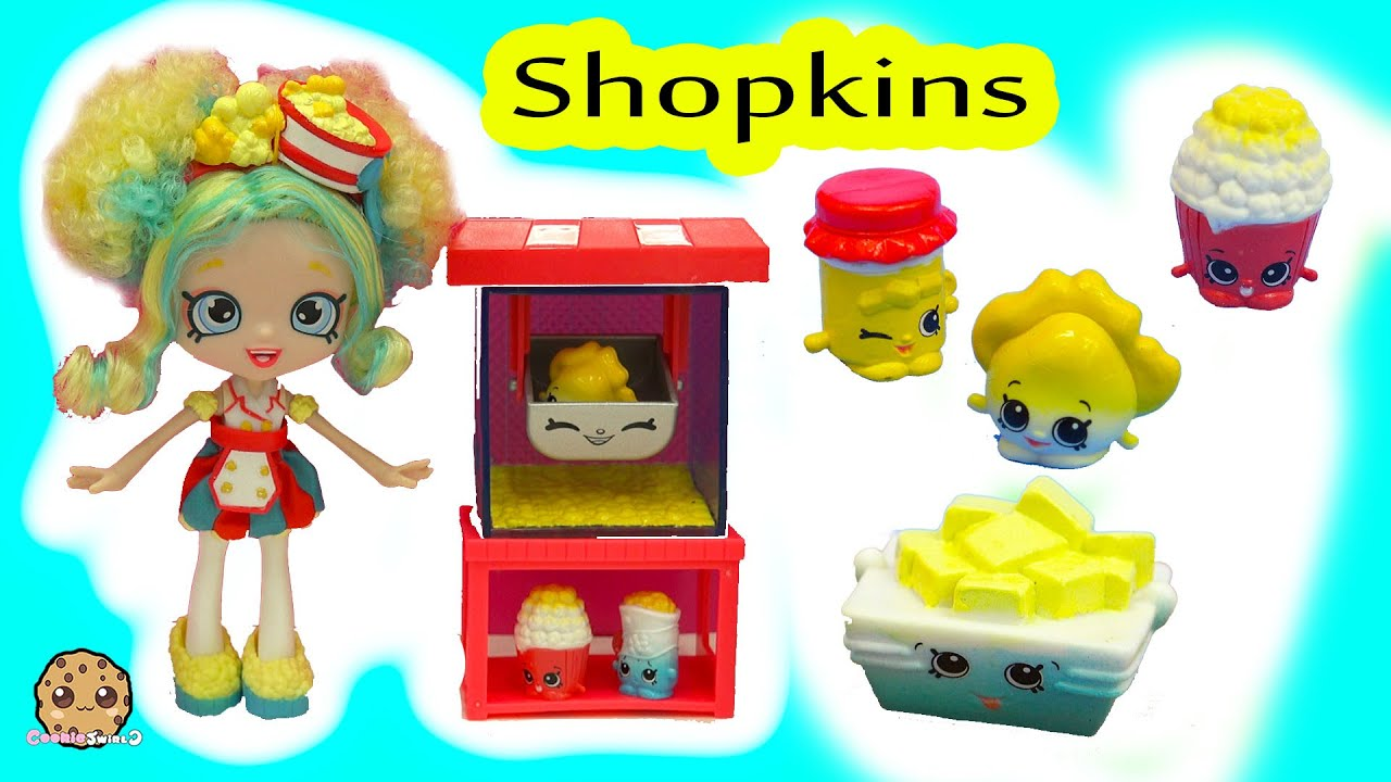 Shoppies Poppetteu0027s Popcorn Stop Exclusive Doll Playset Cart U0026 Season 5  Shopkins
