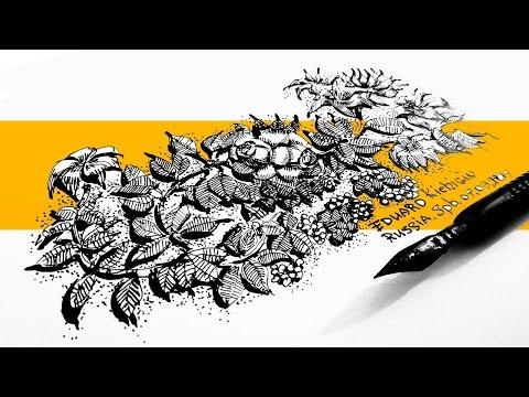 Как нарисовать орнамент из цветов - скетчинг - графика  -  открытка  своими руками - Кичигин Эдуард