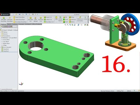 SolidWorks Tutorial | Stirling Engine | 16.Stand Support
