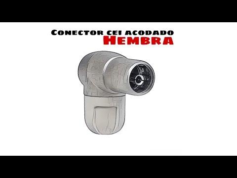 Video de Conector CEI Hembra acodado 9.5mm  Gris