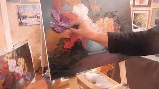 Игорь Сахаров , букет в вазе, научиться рисовать цветы маслом 1