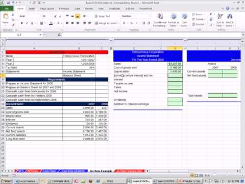 Excel Finance Class 11: Finance Cash Flow From Accounting Information