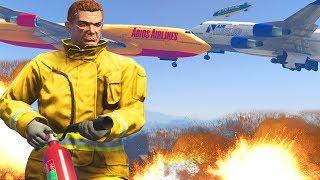 GTA 5: PLANE CRASH!!! FIRE FIGHTER MOD 💥😱✈️ (GTA 5 Mod Gameplay)