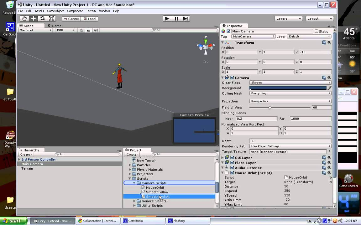 Unity tutorial - 3rd person mouse-controlled camera