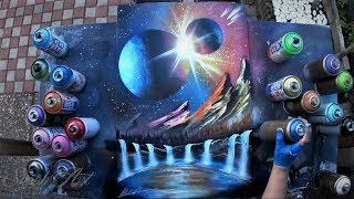 SPRAY PAINT ART by Skech - Clash of the planets