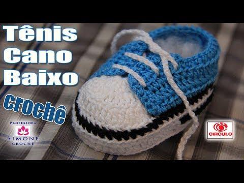 Tênis em crochê cano baixo azul - passo a passo - Professora Simone