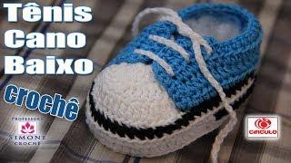 Repeat youtube video Tênis em crochê cano baixo azul - passo a passo - Professora Simone