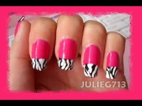 HOT Pink Nails w/ ZEBRA Tips ☆☆ - YouTube