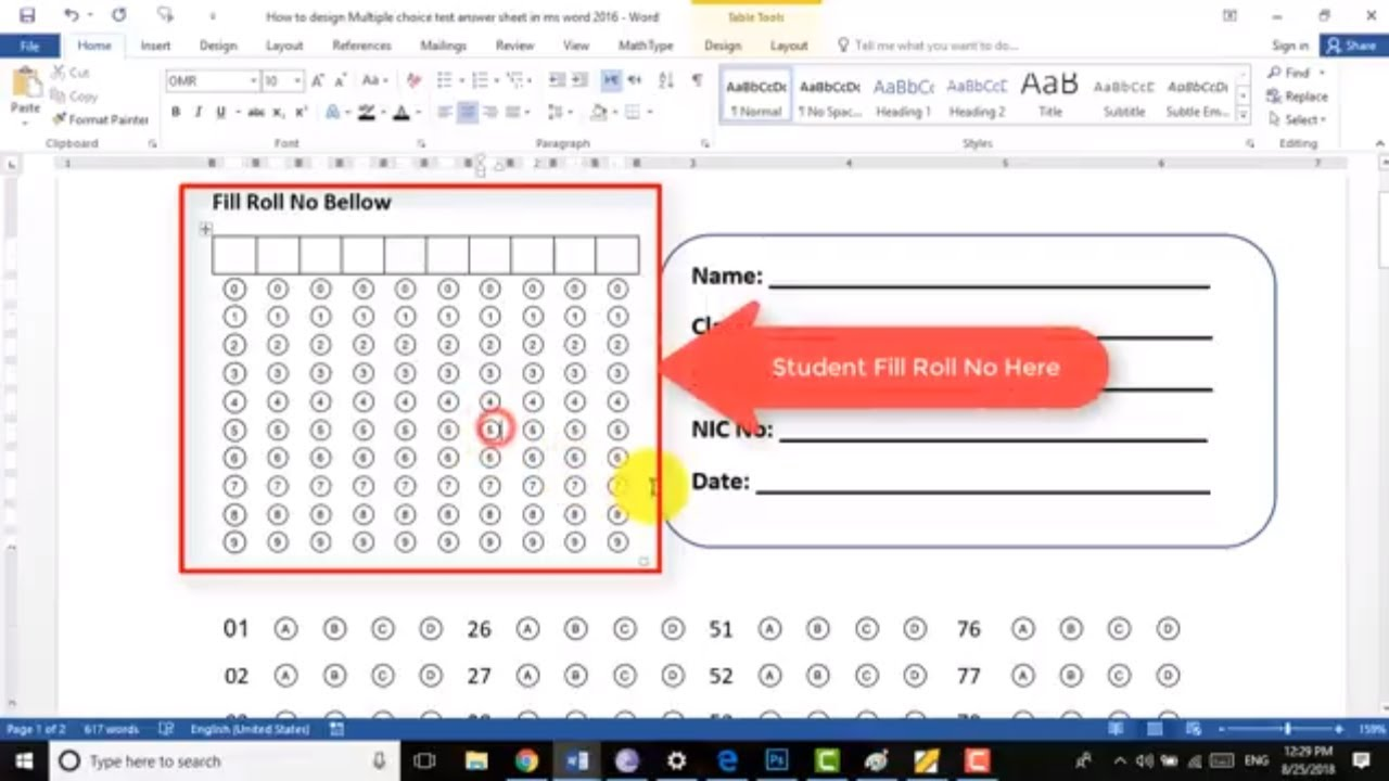How to design | Create Multiple Choice Test Answer Sheet in ms word 2016