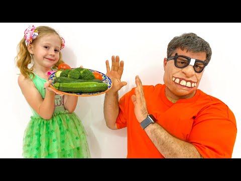 Nastya chuẩn bị thức ăn lành mạnh cho cha