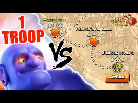 Clash Of Clans | 1 TROOP vs IMPOSSIBLE SINGLE PLAYER CHALLENGE! | INSANE GAME PLAY!