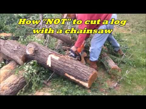 how to use a chainsaw to cut logs