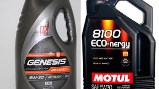 Lukoil Genesis Armortech 5w-30 и Motul Eco-nergy 5w-30