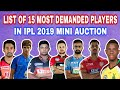 IPL 2019 : LIST OF 15 MOST DEMANDED PLAYERS ALL 8 TEAMS WILL TARGET IN IPL 2019 MINI AUCTION