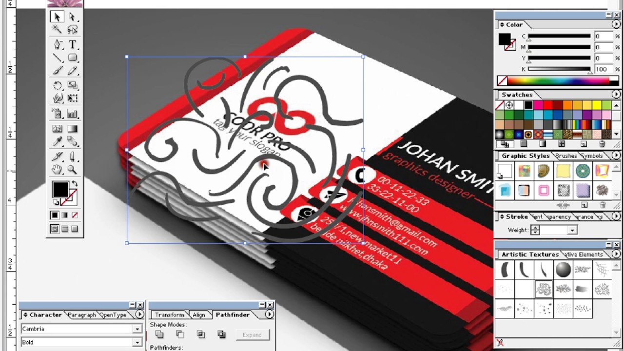 Adobe Illustrator | how to business card design for Fiverr ...