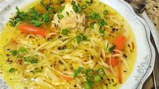 КУРИНЫЙ СУП С ДОМАШНЕЙ ЛАПШОЙ.  (Chicken Soup with Homemade Noodles.)