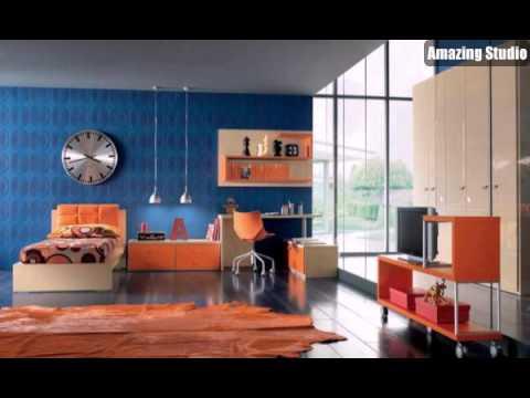 Tapeten Farben Ideen Orange Möbel Und Dunkel Blaue Wände   YouTube