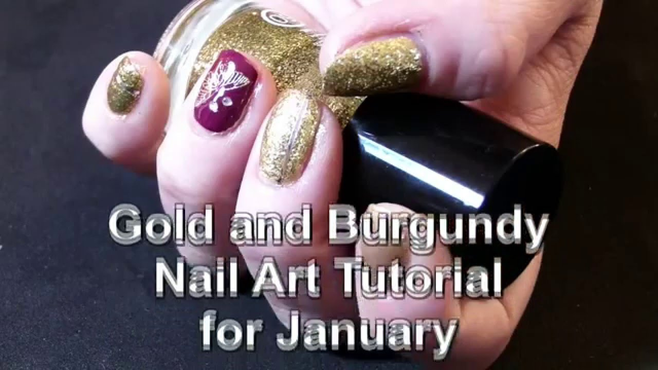 Gold and burgundy nail art tutorial for january youtube prinsesfo Image collections