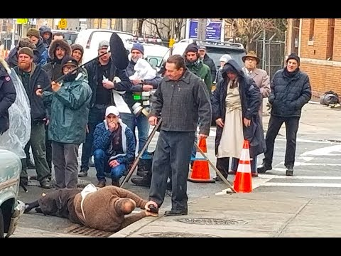 Martin Scorsese filming The Irishman with Robert De Niro in Ridgewood, New York
