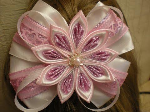 Красивый БАНТ-Цветок  Канзаши Своими Руками. Мастер Класс. /DIY / Flowers Kanzshiashi /Tutorial.