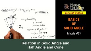 3. Physics | Solid Angle | Relation in Solid Angle and Half angle of Cone | by Ashish Arora