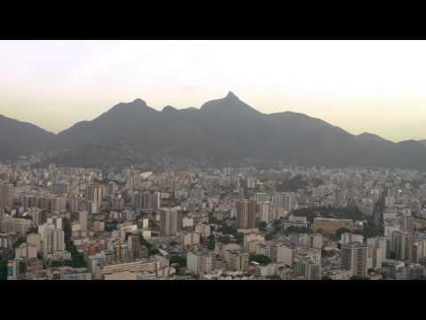 Aerial shot of Football Stadium, Rio de Janeiro, and surrounding mountains - Brazil.