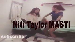 Niti Taylor aka nandini murthy with co-actor radhika offscreen kyy3 set