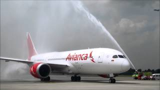 Avianca First B787 Landing and Water Cannon Welcome at Bogota el Dorado Intl Airport!