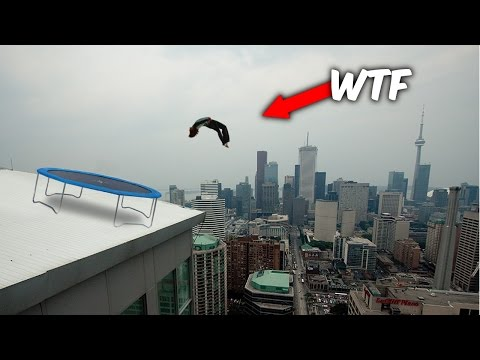 INSANE ROOF TRAMPOLINE FLIPS YOU WON