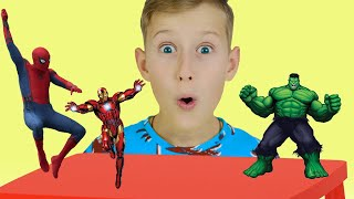 Alex Pretends to play with Superheroes and Dance | Preschool toddler learn color