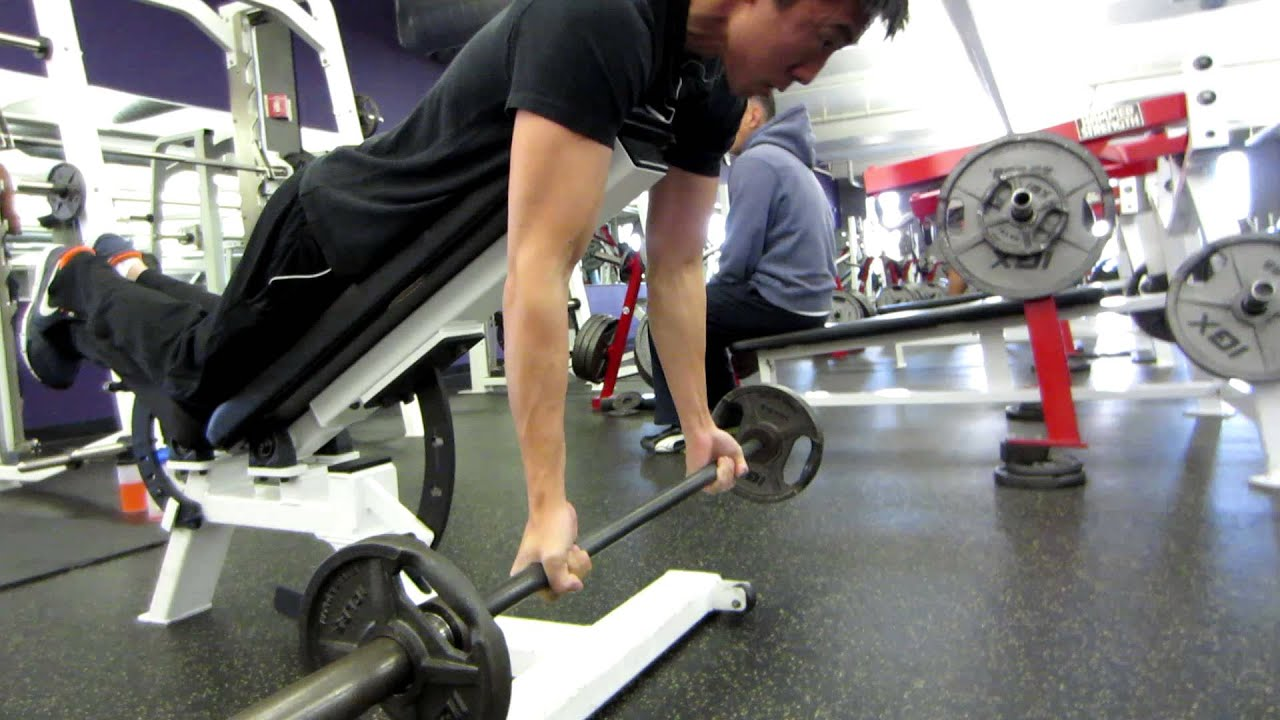 Spider Curls Incline Bench Part - 23: Incline Barbell Spider Curls - YouTube