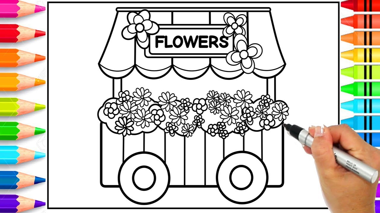 Flower Shop Cart Coloring Page