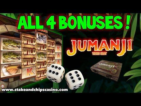 All 4 BONUSES !! JUMANJI SLOT Online Casino Game Win