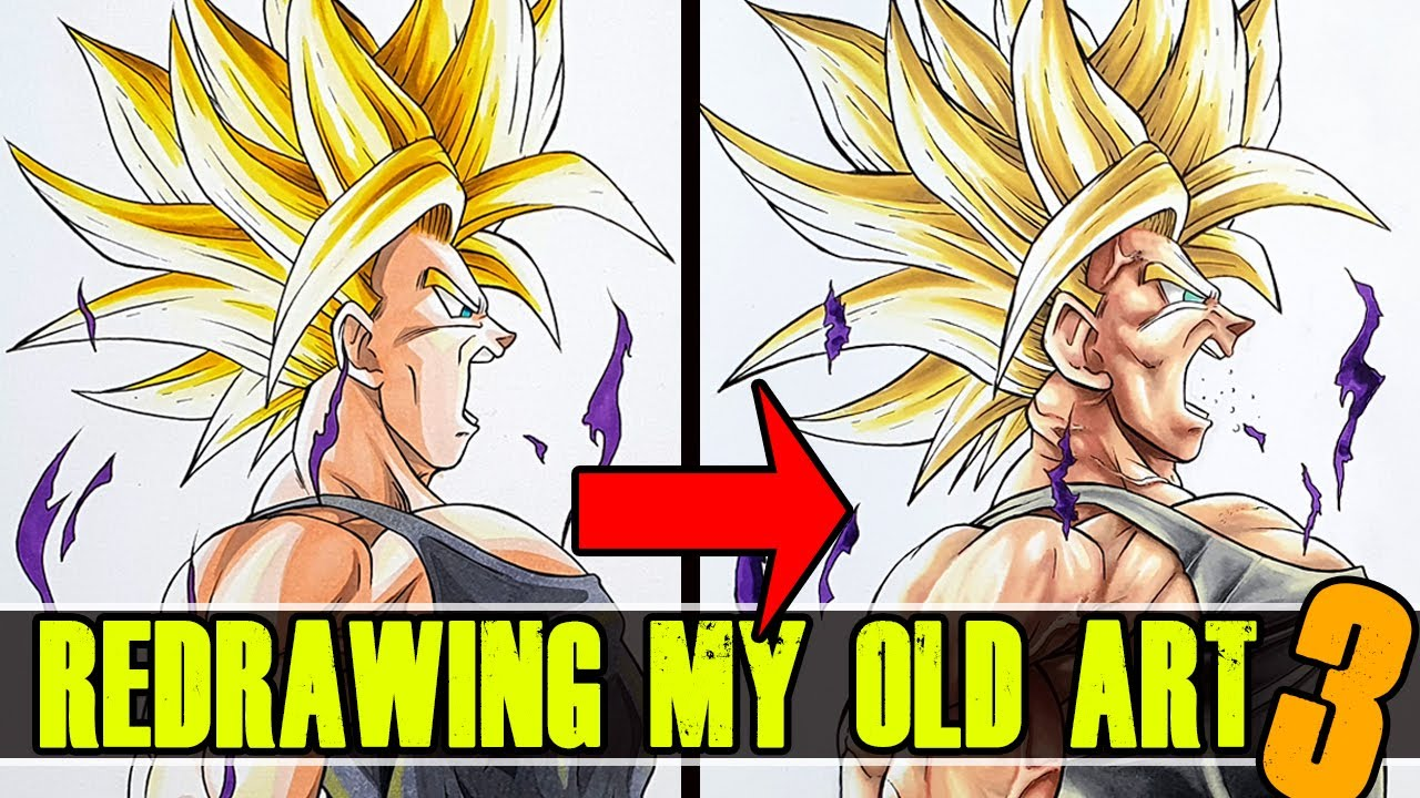 Redrawing My Old Bad Art My First Drawing S Trunks Dragon Ball Z 3 Youtube