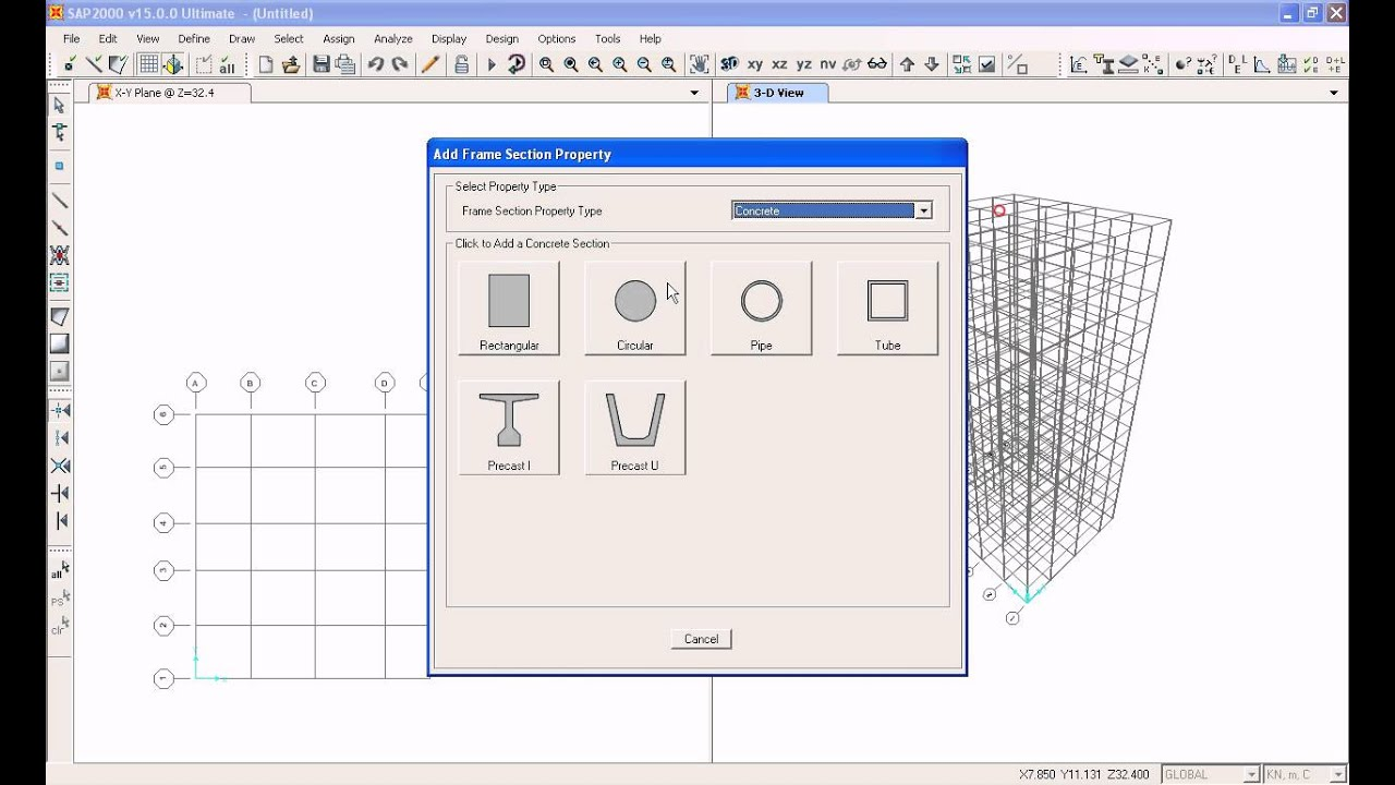 SAP2000 Tutorial 3- Defining Section Properties : Beam and Column ...