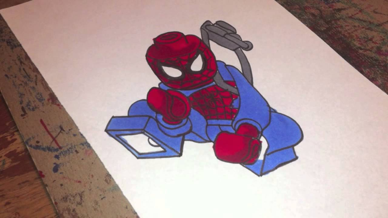 copic marker speed color lego spider man with commentary youtube