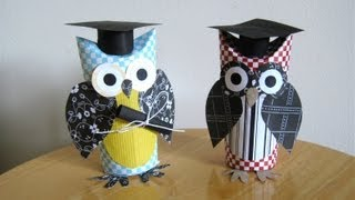 Make a graduation owl gift card, with a toilet paper tube