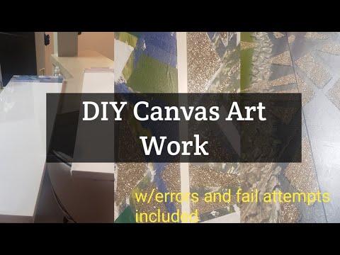 DIY Glitter Canvas Wall Art| Marble Finish