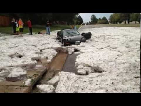 EXTREME WEATHER: 2 FEET OF HAIL BLANKETS PARTS OF DENVER, COLORADO THURSDAY (AUG 23, 2013)