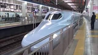 博多駅 発車メロディー(銀河鉄道999)に送られて出発する新幹線 さくら、つばめ、のぞみ 2019.4.15