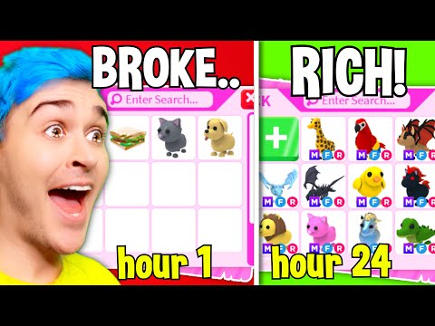 *BROKE* To *RICH* In 24 Hours Adopt Me CHALLENGE!! Poor Noob Has *SHOCKING TRANSFORMATION* (Roblox)