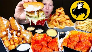 Massive Buffalo Wild Wings Feast • ft. Creamy Cheese Curd Bacon Burger • MUKBANG
